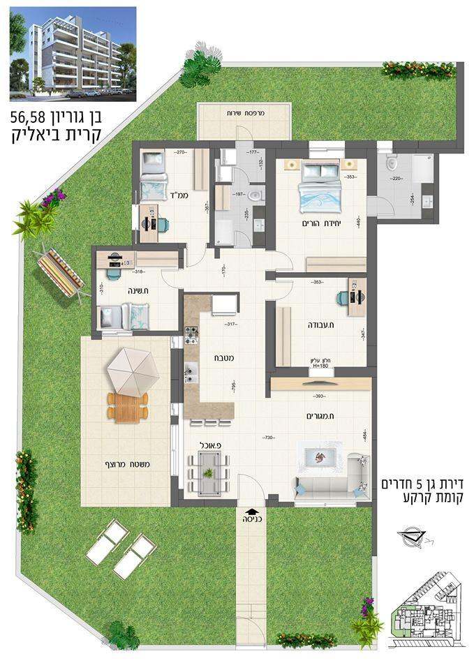 """פרוייקט חדש בן גוריון קרית ביאליק קרקע 5 חדרים 130 מ""""ר בנוי. 150 מ""""ר גינה."""